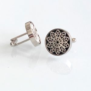 Black and Silver Floral Round Cufflinks